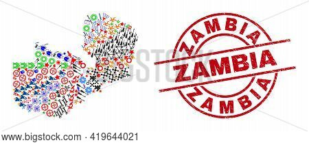 Zambia Map Mosaic And Textured Zambia Red Round Badge. Zambia Badge Uses Vector Lines And Arcs. Zamb