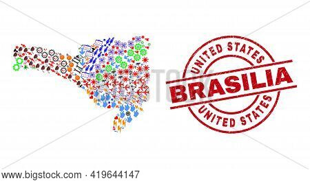 Santa Catarina State Map Mosaic And Textured United States Brasilia Red Circle Stamp Seal. United St