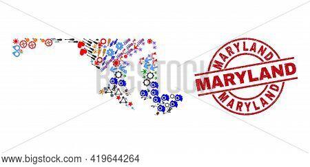 Maryland State Map Mosaic And Distress Maryland Red Circle Stamp Seal. Maryland Seal Uses Vector Lin
