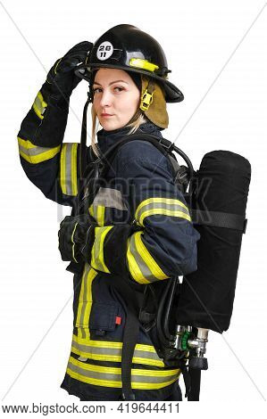 Young Caucasian Woman In Uniform Of Firefighter Holds Helmet With Hand And Posing In Profile With Ai