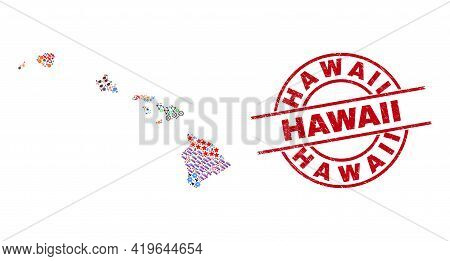 Hawaii State Map Collage And Scratched Hawaii Red Round Seal. Hawaii Seal Uses Vector Lines And Arcs