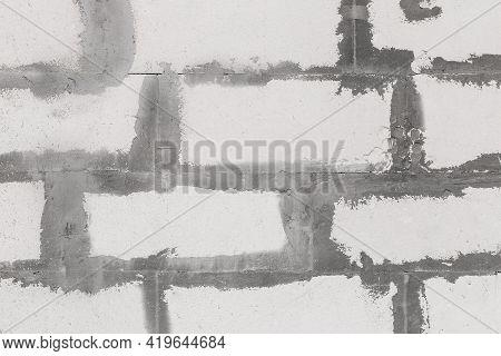White Building Brick Construction Blocks Sloppy Masonry Wall Texture Background.