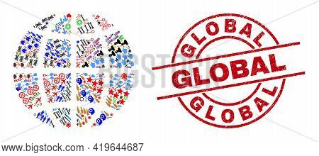 Planet Globe Collage And Unclean Global Red Circle Badge. Global Badge Uses Vector Lines And Arcs. P