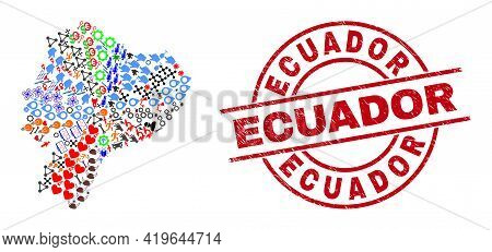Ecuador Map Collage And Rubber Ecuador Red Round Stamp Imitation. Ecuador Stamp Uses Vector Lines An