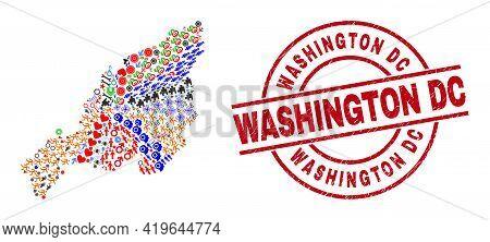 Nagaland State Map Collage And Textured Washington Dc Red Circle Stamp Seal. Washington Dc Seal Uses