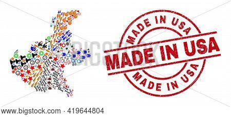 Veneto Region Map Collage And Made In Usa Red Circle Stamp Imitation. Made In Usa Stamp Uses Vector