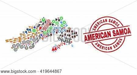 Arunachal Pradesh State Map Collage And Scratched American Samoa Red Round Watermark. American Samoa