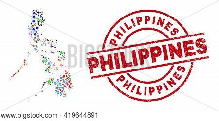 Philippines Map Mosaic And Dirty Philippines Red Round Stamp Seal. Philippines Seal Uses Vector Line