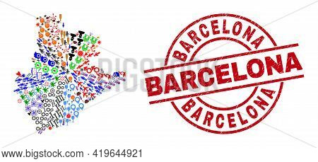 Barcelona Province Map Mosaic And Textured Barcelona Red Round Stamp Seal. Barcelona Seal Uses Vecto