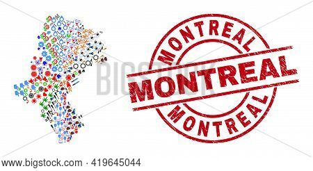 Silesian Voivodeship Map Collage And Grunge Montreal Red Round Stamp Seal. Montreal Seal Uses Vector