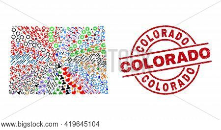 Colorado State Map Collage And Dirty Colorado Red Round Seal. Colorado Seal Uses Vector Lines And Ar
