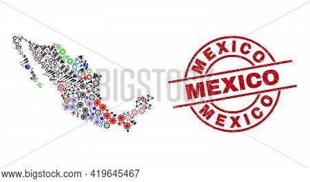 Mexico Map Collage And Distress Mexico Red Circle Stamp Imitation. Mexico Stamp Uses Vector Lines An
