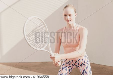 Teen Girl Tennis Player,  Healthy Young Athletes Training, Active Wellbeing Concept