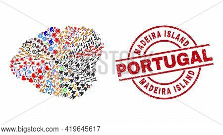 Kauai Island Map Collage And Grunge Madeira Island Portugal Red Circle Seal. Madeira Island Portugal