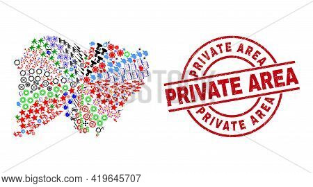 Salamanca Province Map Mosaic And Grunge Private Area Red Circle Stamp. Private Area Badge Uses Vect