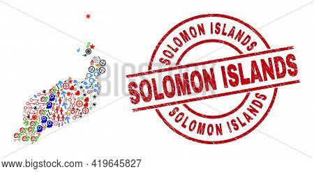 Lanzarote Islands Map Collage And Unclean Solomon Islands Red Circle Stamp Print. Solomon Islands St