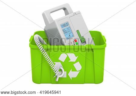 Recycling Trashcan With Infusion Pump. 3d Rendering Isolated On White Background