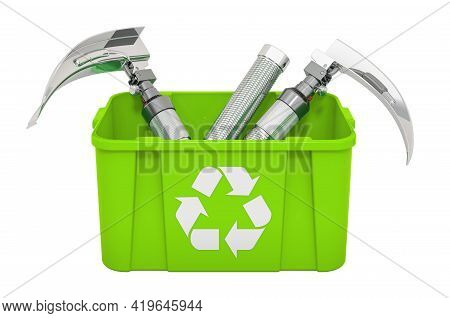 Recycling Trashcan With Laryngoscopes. 3d Rendering Isolated On White Background