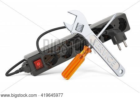 Service And Repair Of Surge Protector. 3d Rendering Isolated On White Background