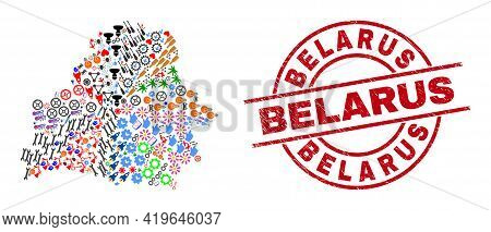 Belarus Map Collage And Textured Belarus Red Round Stamp Print. Belarus Seal Uses Vector Lines And A