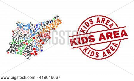 Gipuzkoa Province Map Mosaic And Distress Kids Area Red Circle Stamp Seal. Kids Area Stamp Uses Vect