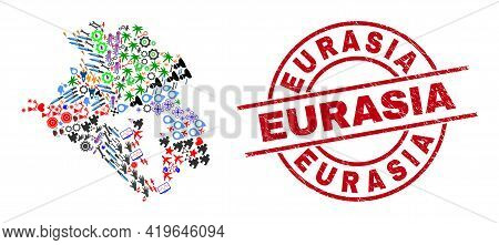 Krasnodarskiy Kray Map Collage And Eurasia Red Round Badge. Eurasia Badge Uses Vector Lines And Arcs