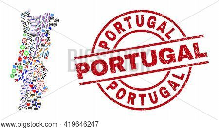 Portugal Map Mosaic And Textured Portugal Red Circle Stamp Seal. Portugal Seal Uses Vector Lines And