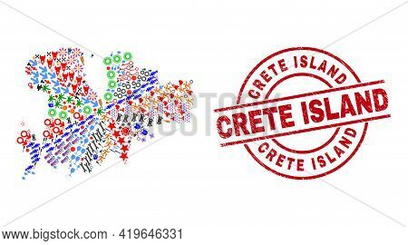 Mykonos Island Map Mosaic And Distress Crete Island Red Round Stamp Seal. Crete Island Seal Uses Vec