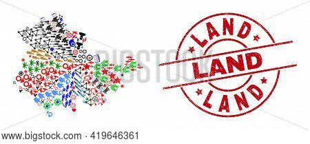 Thuringia Land Map Collage And Distress Land Red Round Watermark. Land Badge Uses Vector Lines And A