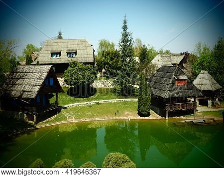 Ethno-village, Traditional Village Houses Made Of Logs, Bosnian Style Of Construction In The Highlan