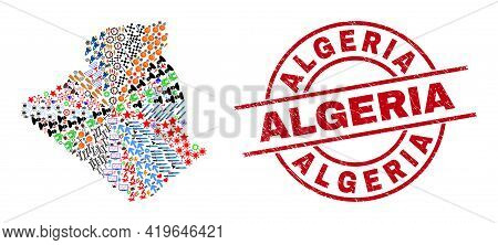 Algeria Map Collage And Rubber Algeria Red Round Stamp. Algeria Seal Uses Vector Lines And Arcs. Alg