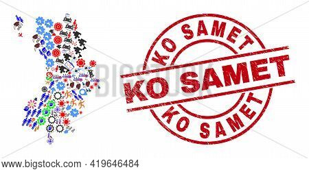 Ko Tao Map Collage And Rubber Ko Samet Red Circle Stamp Seal. Ko Samet Stamp Uses Vector Lines And A