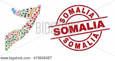 Somalia Map Mosaic And Distress Somalia Red Round Stamp. Somalia Stamp Uses Vector Lines And Arcs. S