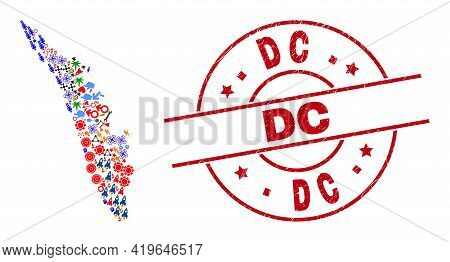Kerala State Map Collage And Unclean Dc Red Circle Stamp Seal. Dc Seal Uses Vector Lines And Arcs. K