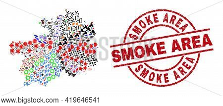 Guizhou Province Map Collage And Scratched Smoke Area Red Round Stamp Print. Smoke Area Stamp Uses V
