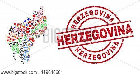 Tripura State Map Collage And Grunge Herzegovina Red Circle Badge. Herzegovina Badge Uses Vector Lin