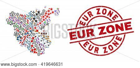 Cadiz Province Map Collage And Eur Zone Red Round Stamp Print. Eur Zone Stamp Uses Vector Lines And