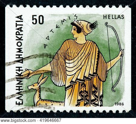 Greece - Circa 1986: Postage Stamps Printed In Greece Shows Gods Of Olympus Artemis Circa 1986