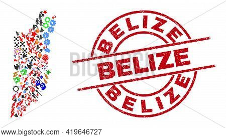 Belize Map Collage And Unclean Belize Red Round Stamp Print. Belize Stamp Uses Vector Lines And Arcs