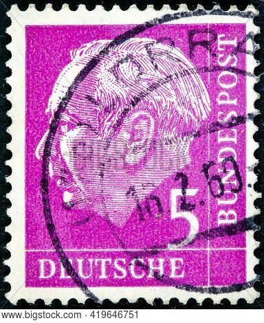 Germany - Circa 1954: A Stamp Printed In Germany Shows The First President Of The Federal Republic O