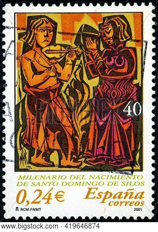 Spain - Circa 2001: A Stamp Printed In The Spain Shows Millenary Of The Birth Of Santo Domingo De Si