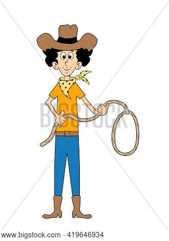 Cowboy Holding A Lasso, Funny Cartoon Character Of A Male Person Wearing A Brown Hat, A Neckerchief