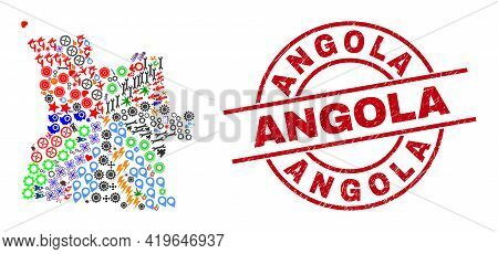 Angola Map Collage And Grunge Angola Red Round Stamp. Angola Badge Uses Vector Lines And Arcs. Angol
