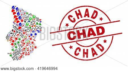 Chad Map Mosaic And Distress Chad Red Circle Stamp. Chad Stamp Uses Vector Lines And Arcs. Chad Map
