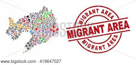 Liaoning Province Map Collage And Distress Migrant Area Red Round Stamp Imitation. Migrant Area Seal