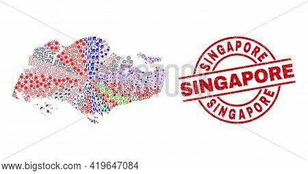Singapore Map Collage And Distress Singapore Red Circle Stamp Imitation. Singapore Badge Uses Vector