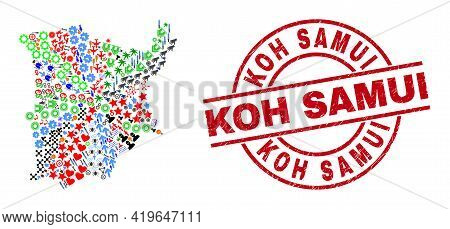 Koh Samui Map Collage And Unclean Koh Samui Red Circle Stamp Imitation. Koh Samui Stamp Uses Vector