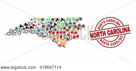 North Carolina State Map Mosaic And Scratched North Carolina Red Round Stamp Print. North Carolina S