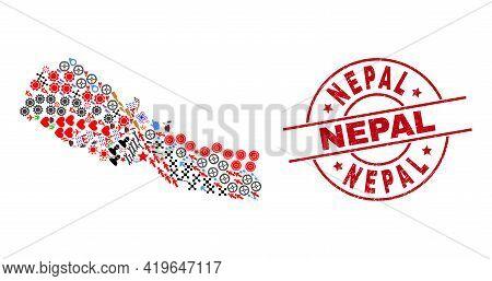 Nepal Map Mosaic And Dirty Nepal Red Circle Badge. Nepal Badge Uses Vector Lines And Arcs. Nepal Map