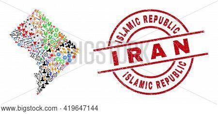 Washington District Columbia Map Mosaic And Grunge Islamic Republic I R A N Red Circle Stamp Seal. I